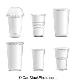 Colección de maquetas de tazas blancas en blanco