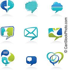 Colección de medios sociales y discursos, símbolos de burbujas