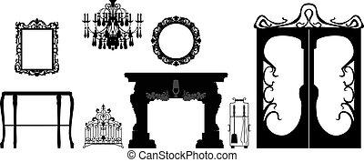 Colección de muebles de vector editable y siluetas de decoración