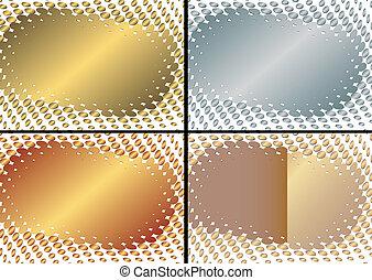 Colección de oro, plata y marco (vector)