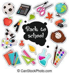 Colección de pegatinas escolares