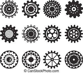 Colección de ruedas de engranajes aisladas en fondo blanco. Engranajes.