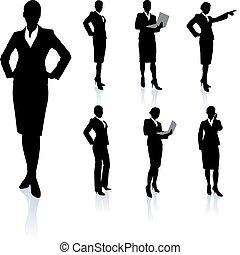 Colección de siluetas de mujer de negocios