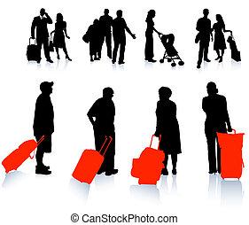 Colección de siluetas de viajero