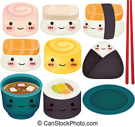 Colección de Sushi, archivo de vector EPS10