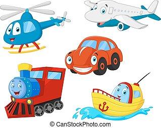 Colección de transporte de dibujos animados