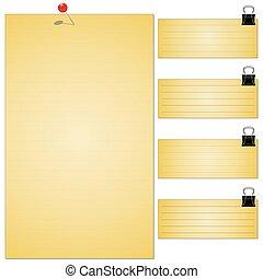 Colección de varios papeles de notas blancas, listo para su mensaje. Ilustración de vectores.