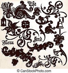 Colección de vectores antiguos elementos del remolino.eps