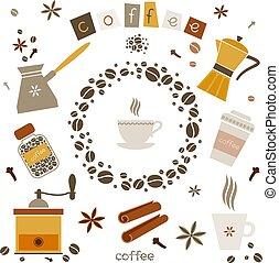 Colección de vectores de café elementos de diseño