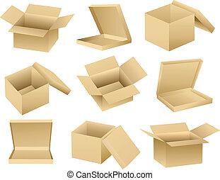 Colección de vectores de cajas vacías abiertas