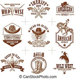 Colección de vectores del Logo del Salvaje Oeste