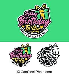 colección, etiqueta, insignia, cumpleaños, pegatina, feliz