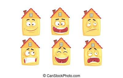 colección, lindo, expresiones, casas, edificio, vario, carácter, humanized, cara, vector, ilustración, divertido, caricatura