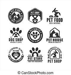colección, mascota, tienda, logotipo, vector, diseño