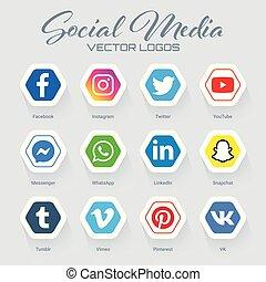 colección, popular, logotipos, medios, social