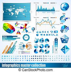 Colección principal de información de Premium: gráficos, histogramas, flechas, gráficos, globos 3D, iconos y muchos elementos de diseño relacionados.
