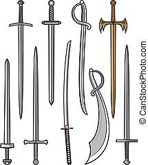colección, sables, espadas