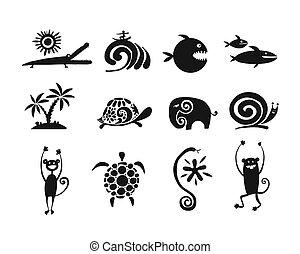 Coleccion de animales graciosos, silueta negra para tu diseño