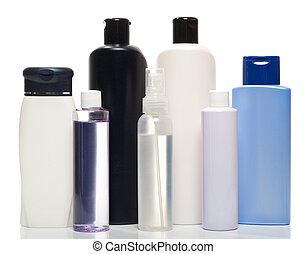 Coleccion de botellas de productos de salud y belleza