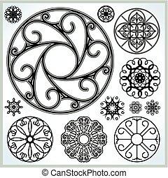 Coleccion de círculos ornativos vectoriales