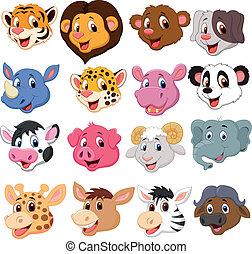 Coleccion de cabezas de animales de dibujos animados