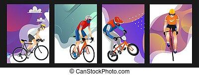 Coleccion de dibujos de hombres con diferentes tipos de bicicletas