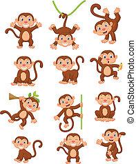 Coleccion de dibujos de monos felices