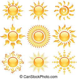 Coleccion de iconos amarillos brillantes aislados en blanco.