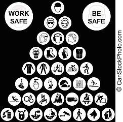 Coleccion de iconos de salud y seguridad de la pirámide blanca