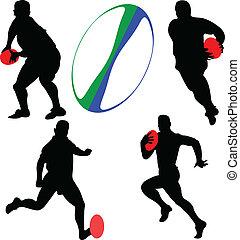Coleccion de jugadores Rugby - Vector