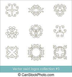 Coleccion de logos florales. Elementos de espiral para el diseño. Una delgada línea.