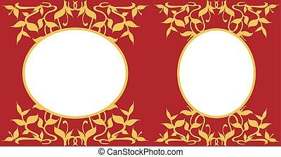 Coleccion de marcos ovalados, decoración floral