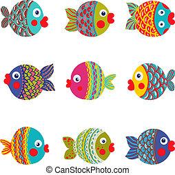 Coleccion de peces dibujos animados