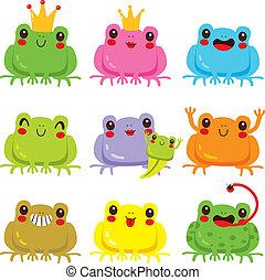 Coleccion de ranas coloridas