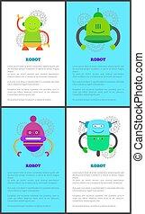 Coleccion de robots de ilustración de vectores de poster