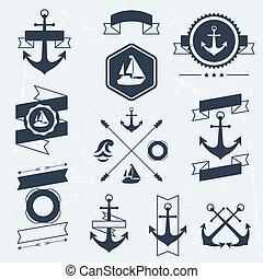 Coleccion de símbolos náuticos, iconos, placas y elementos.