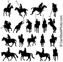 Coleccion de siluetas de montar a caballo