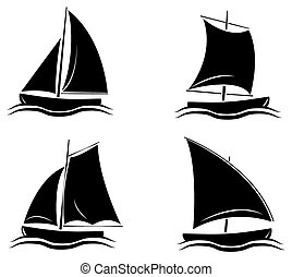 Coleccion de siluetas negras de bote