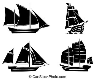 Coleccion de siluetas negras de la nave