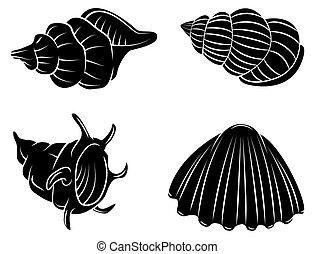 Coleccion de siluetas negras de mar