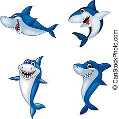 Coleccion de tiburones de dibujos animados