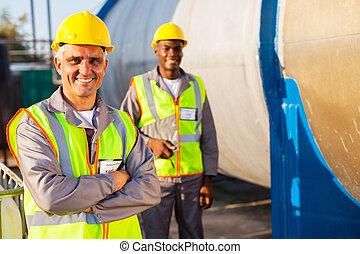 colega, trabajador, 3º edad, petróleo, fábrica