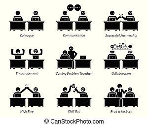 Colega y socios de negocios trabajando juntos eficientemente en la oficina de trabajo.