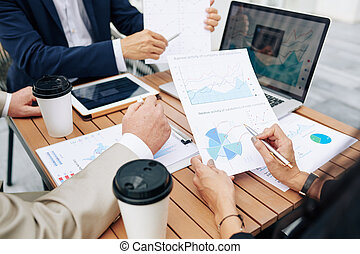 colegas negocio, discutir, actividad