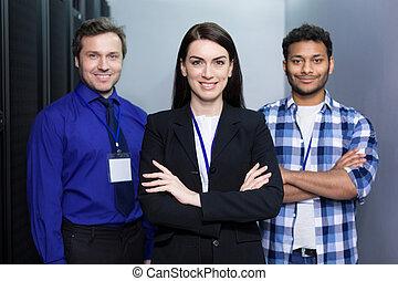 colegas, profesional, juntos, posición, encantado