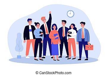 colegas, retrato, feliz, equipo, empresa / negocio