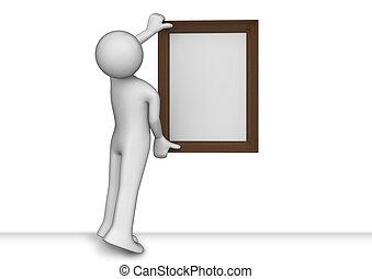 Colgando una foto en el marco