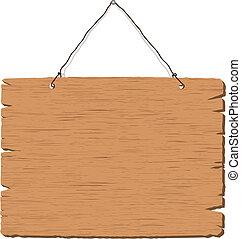 Colgando una señal de madera en blanco