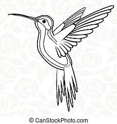 Colibri o colibríes para el logo, icono, camiseta, mascota, ilustración de vectores para la camiseta. Diseño de tatuajes Sketch.