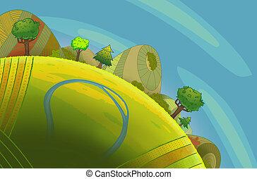 Colinas verdes redondas con árboles